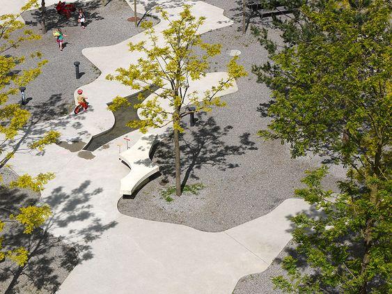 Central Plaza: Cooperative Housing Katzenbach by Robin Winogrond Landschaftsarchitekten, Zürich, Switzerland