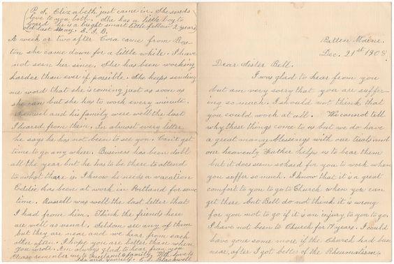 Dear Sister 1908 Letter Pg 1