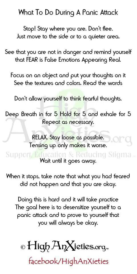 Panic Attack Survival Guide.  This is excellent. Worth printing off, and carrying it around. #panic #anxiety #recovery