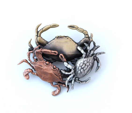 Crabs Brooch Pin. Crab broach. Seaworld Beach Jewelry Gift