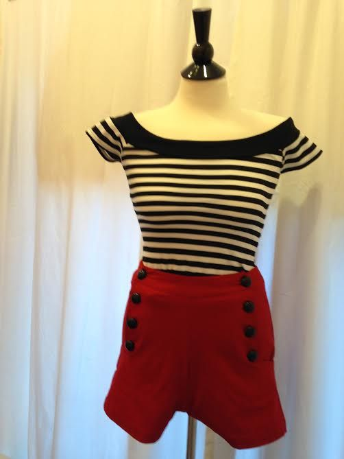 black and white stripe Marilyn top available in store or at www.kittenretroglamour.com
