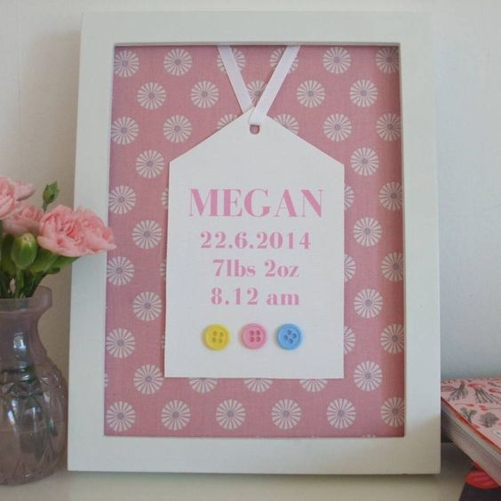 This personalised print makes a perfect gift for a little girl.The picture is printed with babies name, date of birth, birth weight and birth time and decorated with a beautiful pink flower printed fabric and buttons. Please type the personalised details in the appropriate boxes on the right. Framed and mounted in white, a charming gift to welcome a newborn to the world or for christenings, birthdays, Christmas or any other occasion.Fabric, buttons, frame30cm x 25cm