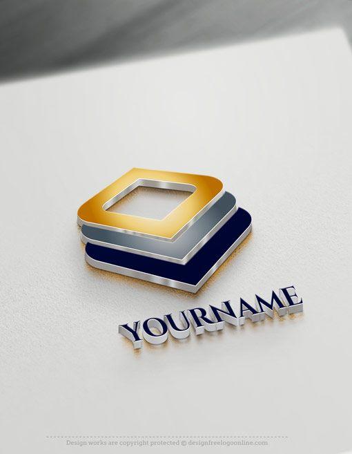Free 3d Logo Maker Layered Squares Online Logo Design Online Logo Design Star Logo Design Online Logo