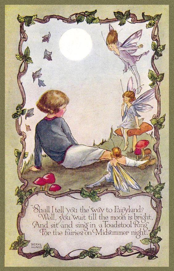 Chocolate Rabbit Graphics:  Fairyland postcard Beryl Haig 1920.  Free to download for personal use. #free #children #fairy #fairies #fairyland #postcard #vintage #image #graphics #illustration #moon