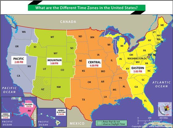 Different Time Zones In The United States Time Zone Map United States Map Map Us time zone worksheets