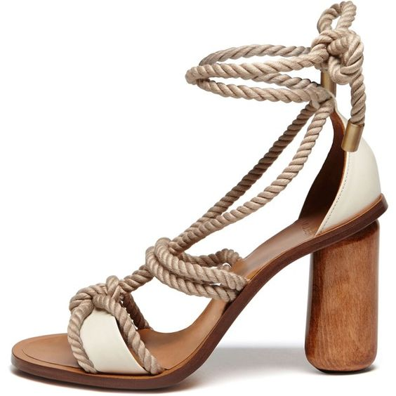 Mulberry High Heel Rope Sandal (£350) ❤ liked on Polyvore featuring shoes, sandals, heels, sandales, narrow shoes, heeled sandals, narrow heel shoes, rope sandals and roper shoes
