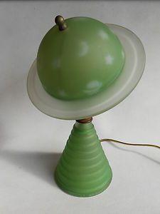 Art Deco Saturn Glass Lamp Worlds Fair Green Art Deco Lamps Art Deco Furniture Art Deco Lighting