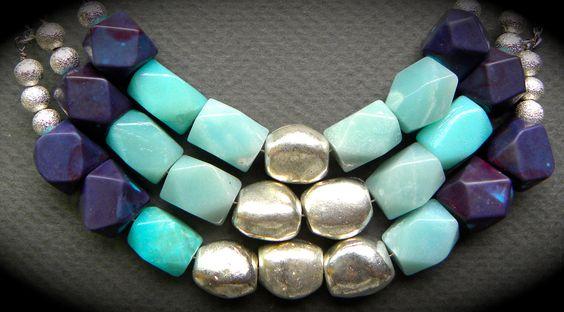 Aqua Amazonite and Purple Magnesite Stone Bib Statement Necklace/ Boho Chic/ Modern. $39,00, via Etsy.