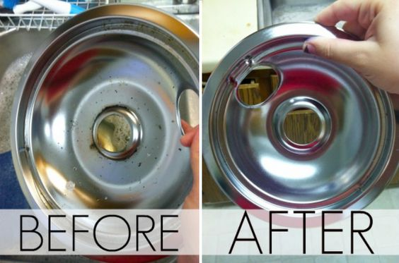Cleaning drip pans without chemicals.  try it.  fill sink 1/2 with hot water and 3 cups of vinegar, plus some dishsoap.  soak for 20 minutes, add baking soda, wait for fizzing to stop, then scrub.