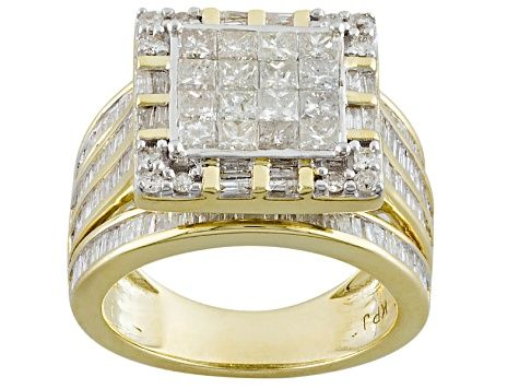 White Diamond 10k Yellow Gold Ring 2 56ctw Hgd097 In 2020 Yellow Gold Rings Gold Rings White Diamond