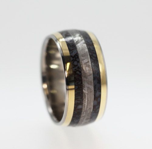 Dinosaur Bone ring Gibeon Meteorite ring and two 14K Gold Inlays - Signature Series - $1849.00