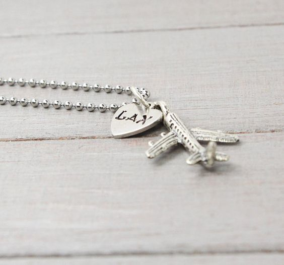 Airplane Necklace Flight Attendant Necklace by PureImpressions, $17.00 | Don't care much for the ball-style chain, prefer sterling silver links, but cute charms.