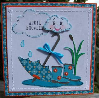 Stuck on U die cut challenge April Showers used Kate's Abc cricut cartridge....