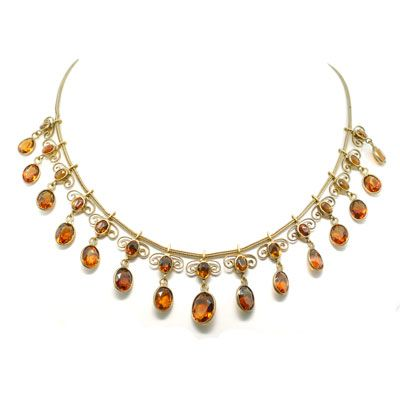 Victorian 14kt Gold & Faceted Madeira Citrine Necklace