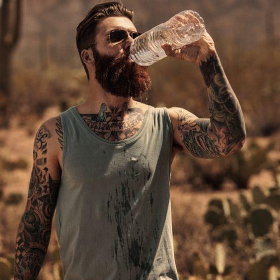 Levi stocke in the desert full thick dark red beard for Red beard tattoo