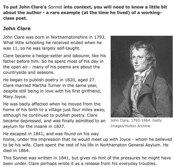 a comparison of john clare poems essay John clare was a poor agricultural labour born in england, 1793, however he was later discovered for his talent in writing poems and he spent the rest of his life writing powerful, natural poems.