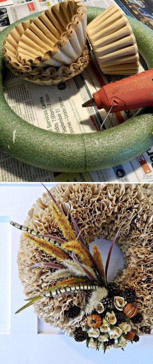 DIY Coffee Filter Fall Wreath: