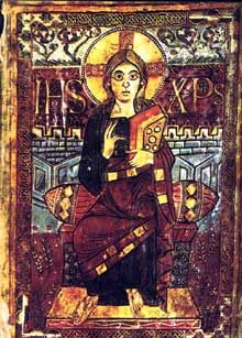 Évangéliaire de Charlemagne dit «de Godescalc». Folio 3. École du palais de Charlemagne, 781-783. Paris, BNF, Manuscrits, NAL 1203