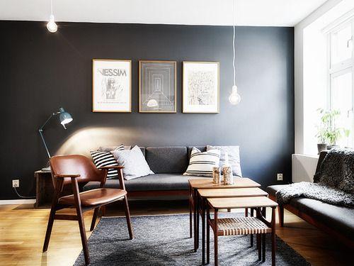 fantastic grey walls brown furniture