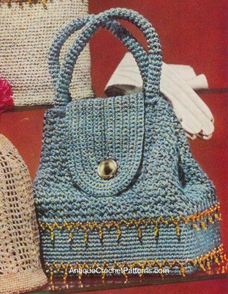 Sparkling Sailor Bag. Vintage crochet pattern.