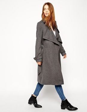 ASOS Coat with Waterfall Front in Brushed Wool | Fashion Finds ...