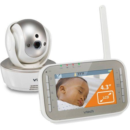 VTech VM343 Safe & Sound Video Baby Monitor with Night Vision, Pan/Tilt/Zoom and Two-Way Audio, White