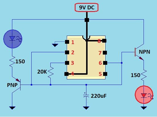 This a dual fading led using 555 timer ic when first led red this a dual fading led using 555 timer ic when first led red starts to increase its light intensity the other led blue starts to get sciox Image collections