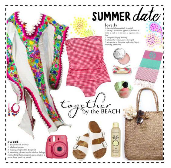 """Summer Date: The Beach"" by mellapr ❤ liked on Polyvore featuring Kate Spade, J.Crew, Birkenstock, bleu, Disney, Sun Bum, Bobbi Brown Cosmetics, beach and summerdate"
