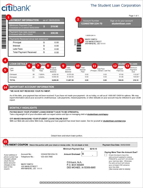 Citi Student Loans - Understand Your Student Loan Statement Bank - jsa form template
