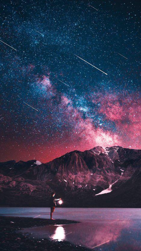Night Sky Meteors Man Iphone Wallpaper Night Sky Wallpaper Starry Night Wallpaper Galaxy Wallpaper
