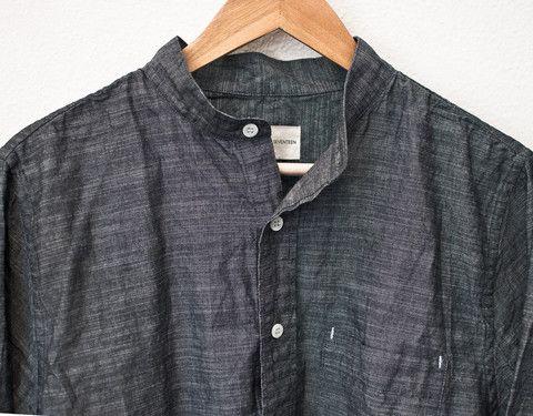 Department Seventeen - Adam Band Collar Shirt in Cross Hatch Gray Chambray
