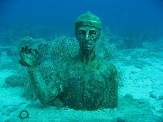 Buste du commandant Cousteau (12 m)  Réserve Cousteau - îlets Pigeon, Guadeloupe, Amérique