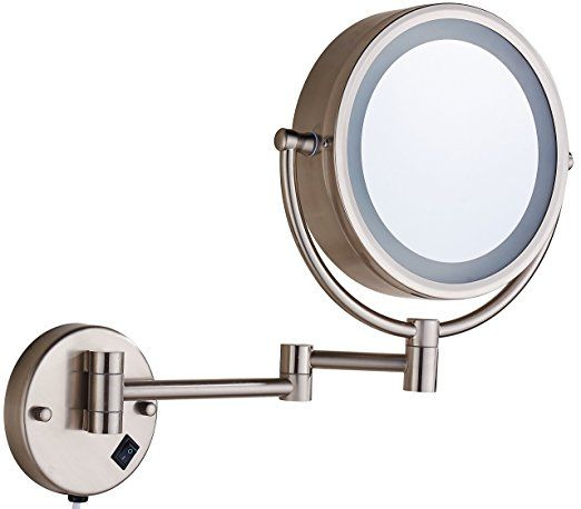 Cavoli Makeup Mirror With Led Lighted Wall Mounted 7x Magnification Nickel Wall Mounted Makeup Mirror Wall Mounted Lighted Makeup Mirror Mirror With Led Lights