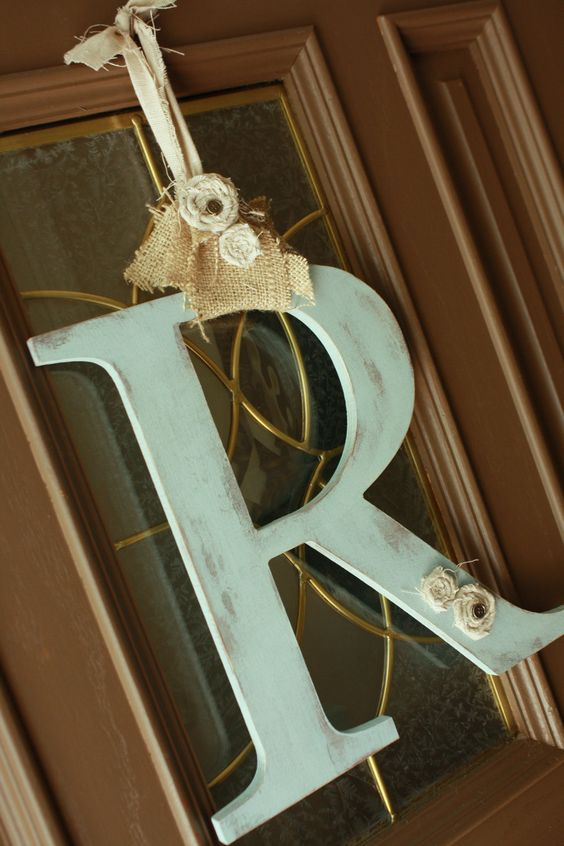 Door Initial Monogram Shabby chic style You choose color and letter. $30.00, via Etsy.