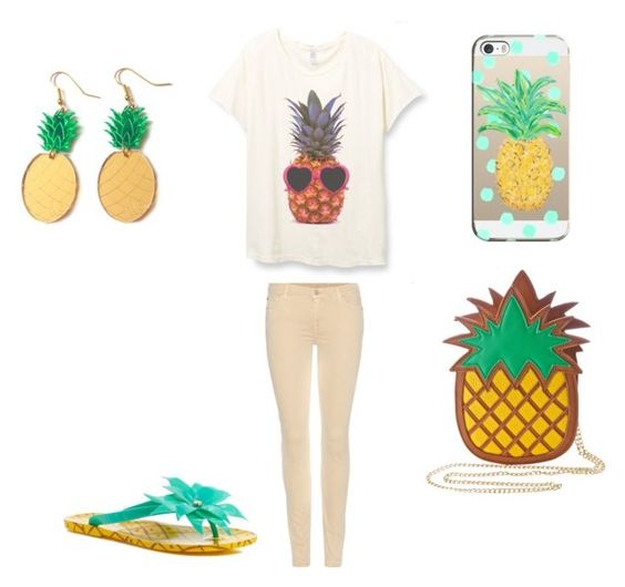 """PINEAPPLES"" by emmashenefield04 on Polyvore featuring Kate Spade, Nila Anthony, 7 For All Mankind and Casetify"