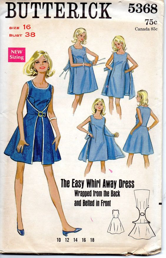 1960s Butterick 5368 Whirl Away Dress Pattern Wrap Dress Scoop ...