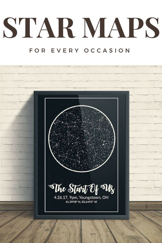 Custom Night Sky Star Print With Constellations - Modern Map Art