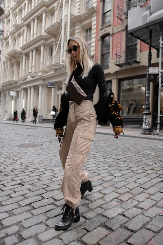 Cargo Pants; NYFW Street Style, SOHO street style, vintage, combat boots, how to wear cargo pants. LV crossbody, Louis Vuitton