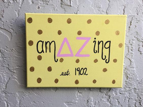 Delta Zeta DZ AMAZING custom canvas, Big Little Gift, Apartment Dorm Decoration