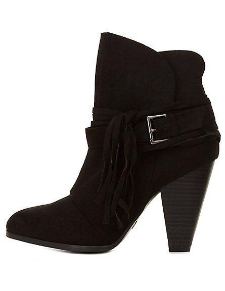 Qupid Belted Tassel Chunky Heel Booties: Charlotte Russe #booties #CRshoecloset