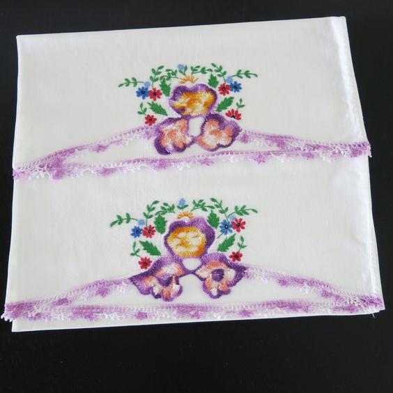 ╭✿✿╯ Toalha Amor-Perfeito de Crochê  Padrão Colorida Clássica -  /╭✿✿╯Pansy  from Crocheted Pattern Vintage Multi Color -