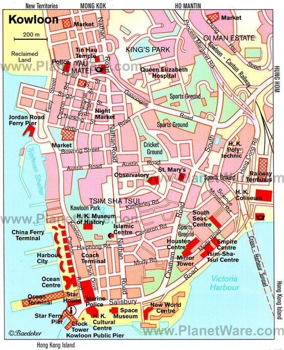 Street Map of Kowloon Hong Kong maps holiday travel – Hong Kong Tourist Attractions Map