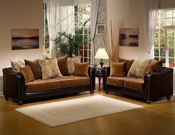 Good A.M.B. Furniture U0026 Design :: Living Room Furniture :: Sofas And Sets ::  Sofa Sets :: 2 Pc Jordan Two Tone Godiva Fabric Suede And Leather Like Vinyu2026