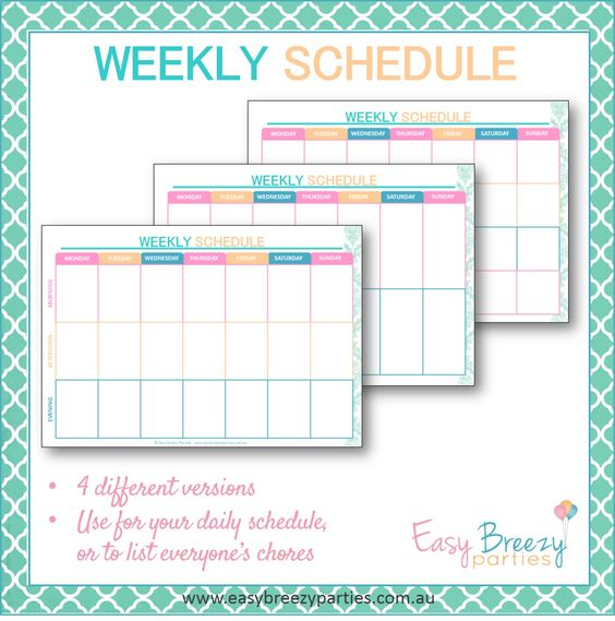 Weekly Schedule Printable - Weekly timetable, planner - Family ...