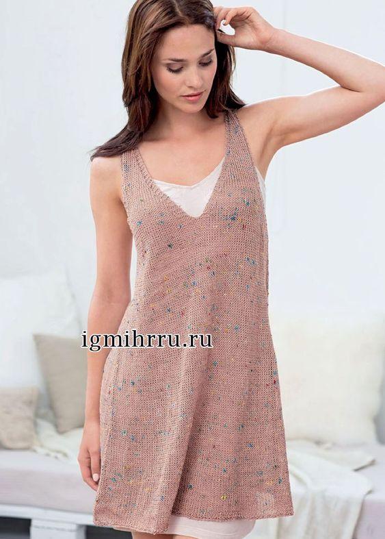 Элегантное вязаное лицевой гладью платье спицами