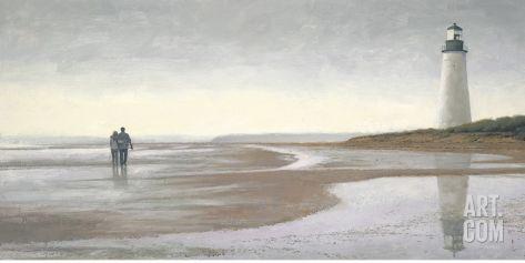 Contemplativa Paseo de la playa II Lámina por James Wiens en Art.com