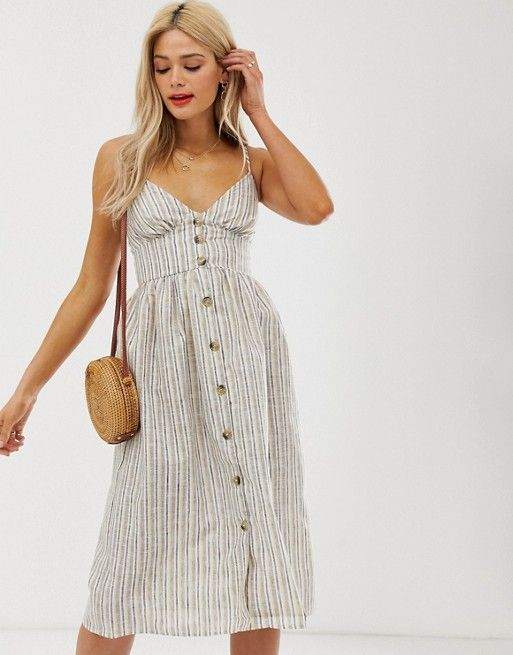 Influence Tall button down cami strap sun dress in stripe | ASOS