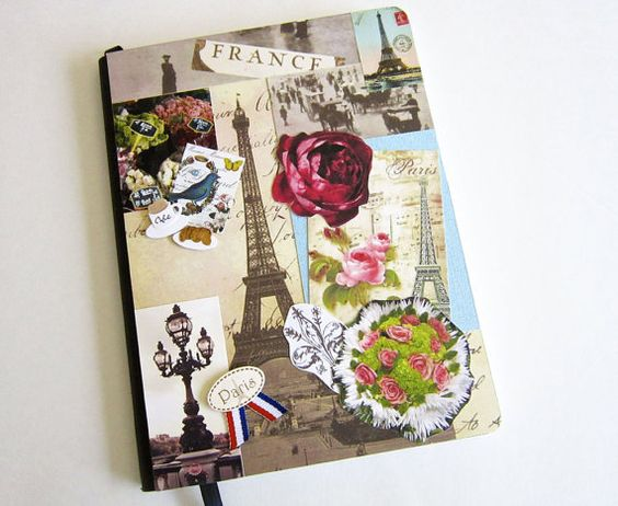 French journal collage decorated notebook blank journal for Back to school notebook decoration ideas