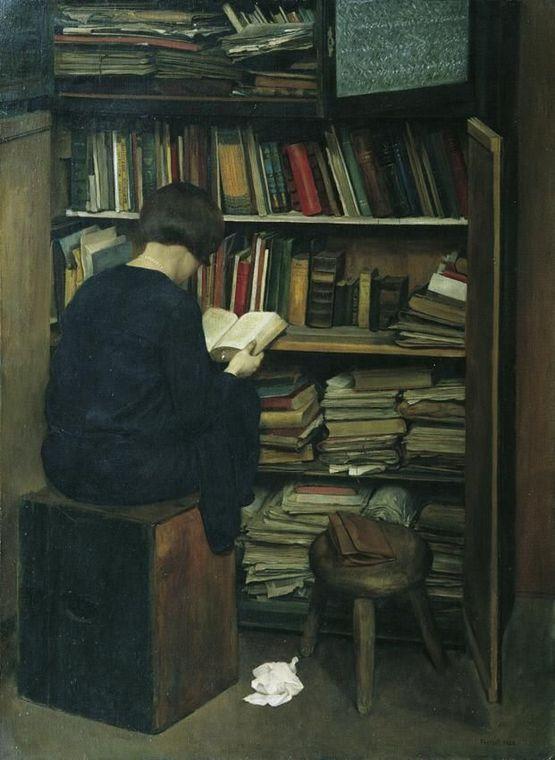 Friedrich Frotzel  (1898 Wien – 1971 Wien)  Der alte Bücherkasten 1929 Öl auf Leinwand, 79,5 x 58,5 cm: