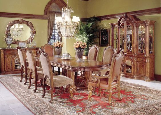 Monte Carlo Dining Room Set With Rectangular Table By AICO Classic Pecan Finish